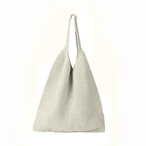 Aland Fashion Solid Color Knitting Women's Casual Single Shoulder Tote Bag Handbag White