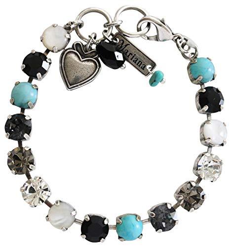 Mariana Silvertone Classic Shapes Crystal Bracelet, 7