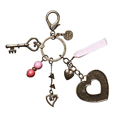 C.R. Gibson Charm Key Chain, Colorful, Silver Antiqued Me...