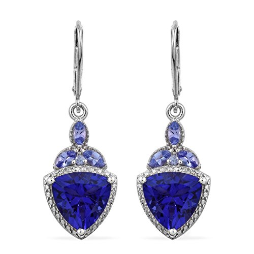 Quartz Earrings Trillion (925 Sterling Silver Platinum Plated Trillion Quartz, Tanzanite Earring)