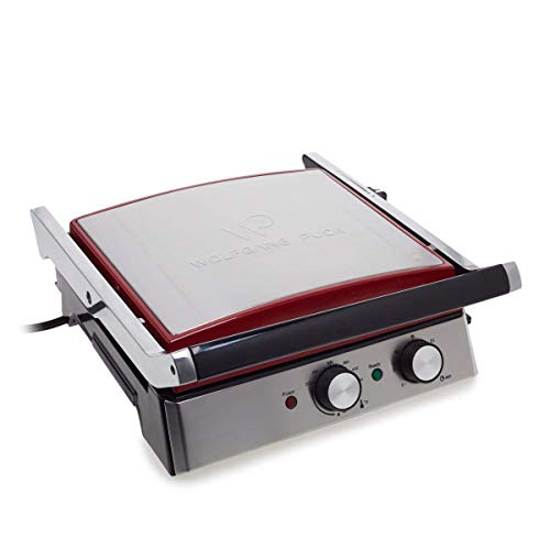 Wolfgang Puck 6-in-1 Reversible Contact Grill and Griddle w/Recipes (Renewed) (Wolfgang Puck Panini Maker With Removable Plates)