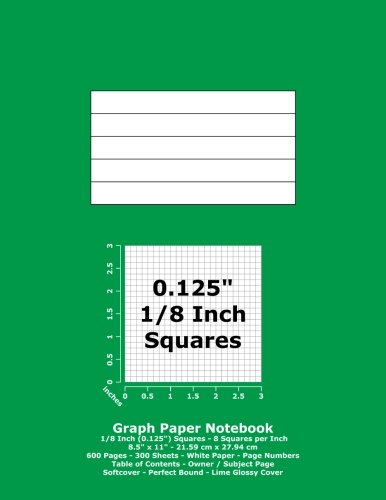 graph paper notebook details notebook type graph paper with gray grey lines and page numbers grid size 0125 inch 18 squares 8 squares per inch
