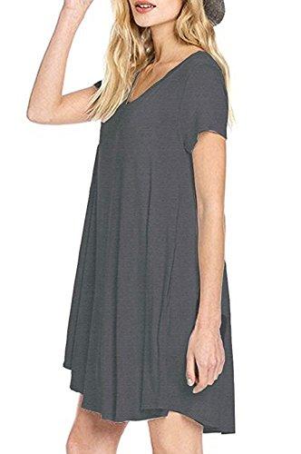 Drak N Summer T Sleeve FACE Dress Casual FACE Loose Women's Grey Pocket Neck V Short Shirt H64wxtqg