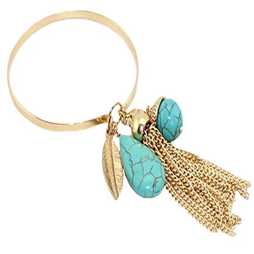 Bracelets Cuff Open for Womens Girls Natural Stone Drops Pendant Tassel Copper Cirle Bracelet by D.B.MOOD Green by D.B.MOOD