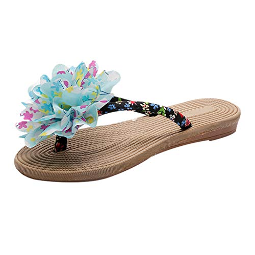 HIRIRI Women's Boho Flip-Flops Soft Three-Dimensional Flower Round-Toe Flat Shoes Holiday Beach Sandals Blue (Tiger Loom Beading Pattern)