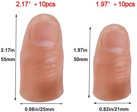 2 Sizes Fake Soft Thumb Cover Plastic Prank Toy Tool for Making Objects Appear//Disappear WSNMING 10 Pcs Finger Magic Tricks