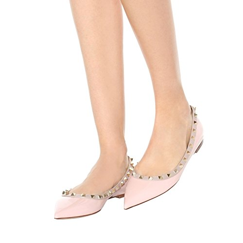 patent Flats Fashion VOCOSI Toe Rivets Pointed Summer Comfort Shoes Ballet Pink Women's Studs 76xnFTH