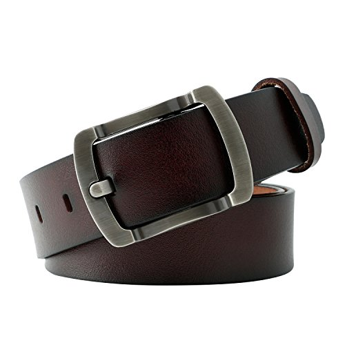 Brown Leather Designer Belt (WERFORU Vintage Leather Belts for Real Men Simple Casual Soft Designer Belt Dark)