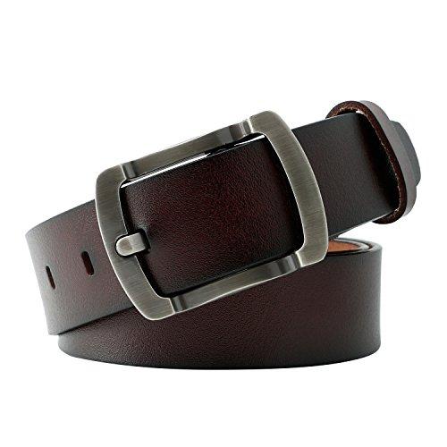 WERFORU Vintage Leather Belts for Real Men Simple Casual Soft Designer Belt Dark Coffee (Brown Leather Designer Belt)
