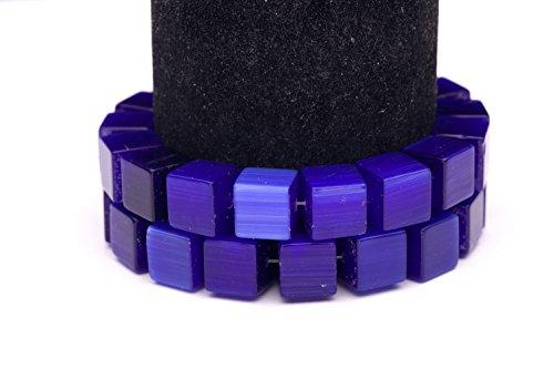 Sapphire Blue Cat's Eye Beads Cube Fiber Optic Glass Beads - Service Cateye Customer
