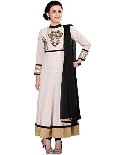 IndusDiva Women's White Cotton and Satin Anarkali Churidaar