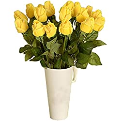 Lingstar Wedding Flower Head Real Touch Rose Bud Flowers for Home Decor Wedding Bouquet-Lemon Yellow 10PCS