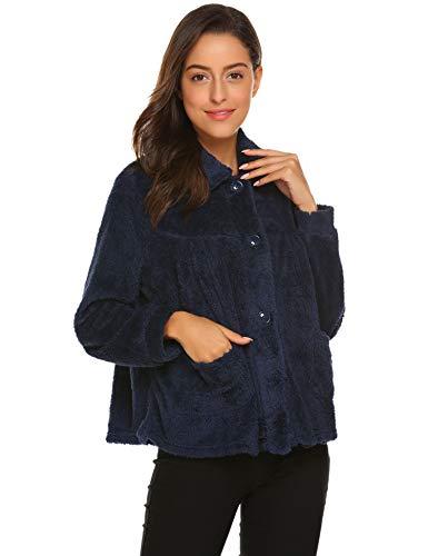 (Ekouaer Women's Peter Pan-Collar Bed Jacket 3/4 Sleeve Button Up Soft Flannel Sleepwear (Medium, O-Navy))