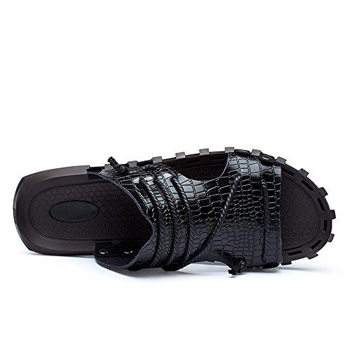 con 2018 toe a Mens beach peep fascia da decorazioni con scivolo Sandali in shoes pantofola in uomo pelle treccia vera V casual Nero scollo e da ampia incrociate r1qvwrna