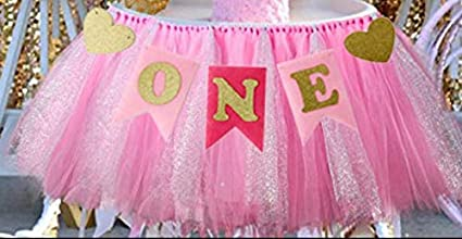 Hot Pink Pink and Gold Sparkle Birthday High Chair Tulle Tutu 1st Birthday HighChair Tutu High Chair Banner Cake Smash Photo Prop