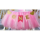 "1st Birthday Girl Baby Tutu for High Chair Decoration and ""ONE"" Pennant Happy Birthday for Highchair"