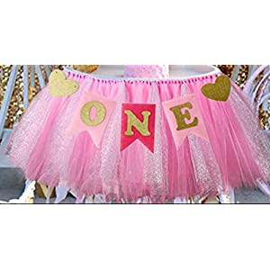 "1st Birthday Girl Baby Tutu for High Chair Decoration and""ONE"" Pennant Happy Birthday for Highchair"