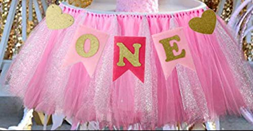 Alemon 1st Birthday Girl Baby Tutu for High Chair Decoration and ONE Pennant Happy Birthday for Highchair]()