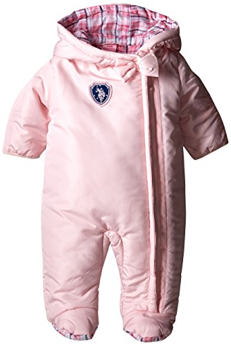 U.S. Polo Assn. Baby Girls' Plaid Lined Polyfill Puffer Pram