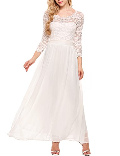 ACEVOG Women's Formal Floral Lace 3/4 Sleeve Evening Party Maxi Dress White S (Shoes To Wear With Tea Length Dress)