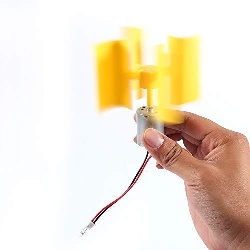 maxmartt Vertical Wind Generator DIY Kit 0.55W Yellow Small Motor Vertical Wind Turbines Blades Breeze Electricity Generator