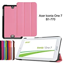 Flip Cover for Acer Iconia One 7 B1-770 Slim Cover,PU Leather Outer Case Folio Folding Cover for Tablet Acer Iconia One 7 B1-770 with Kickstand-Pink
