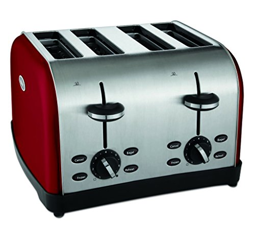 Oster 4-Slice Toaster, Metallic Red (TSSTTRWF4R-SHP) (Amazon Red Toaster)