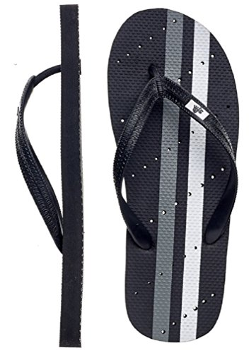 Showaflops Mens Antimicrobial Shower & Water Sandals for Pool, Beach, Dorm and Gym - Racing Stripes Group Black/White
