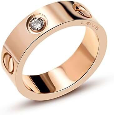 Luxury Shine Celebrity Love Rose Gold-Plated Band Ring for Women (HaveDiamond, 5)