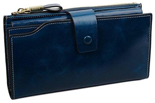 YALUXE Women's Wax Genuine Leather RFID Blocking Clutch Wallet Wallets for Women Blue by YALUXE (Image #6)