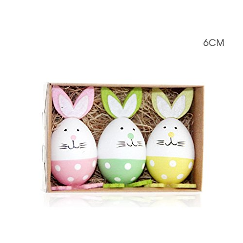 Oldeagle 3Pcs Colorful Baby Filled Easter Eggs Rabbit Color