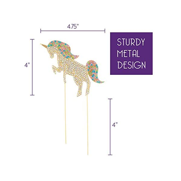 Ella Celebration Unicorn Birthday Cake Topper Unique Reusable Rainbow Rhinestone Cake Decorations for Party, Baby Shower, Event Supplies and Favors (Gold) 4