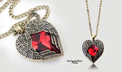 Silver Plated Vintage Bronze Jewelry Chain Necklace Pendant with Red Heart Australian Crystal (Vintage Burberry Scarf)