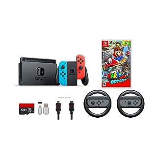 Nintendo Switch 7 items Bundle:Nintendo Switch 32GB Console Neon Red/Neon Blue,128GB Micro SD Card,Nintendo Joy-Con Controllers Gray,Super Mario Odyssey,Mytrix HDMI,Type-C Cable,Wireless Wheel