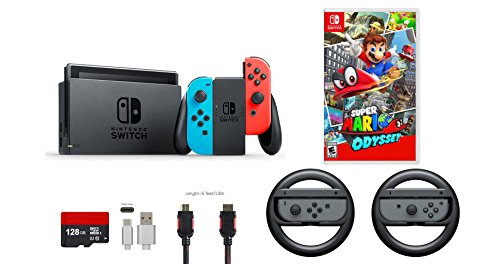 Nintendo Switch 7 items Bundle:Nintendo Switch 32GB Console Neon Red/Neon Blue,128GB Micro SD Card,Nintendo Joy-Con Controllers Gray,Super Mario Odyssey,Mytrix HDMI,Type-C Cable,Wireless Wheel