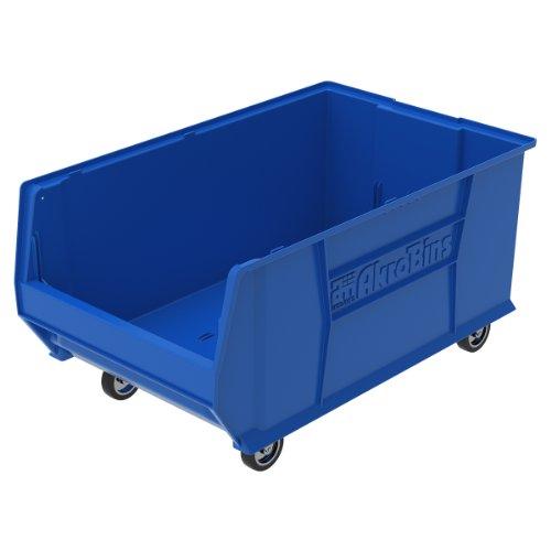 Akro-Mils 30290 Mobile Super Size Plastic Stacking Storage Akro Bin, 29-Inch x 18-Inch x 12-Inch, Blue by Akro-Mils