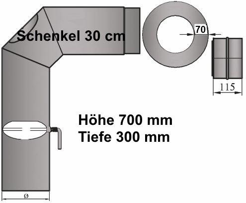 LANZZAS LANZZAS LANZZAS Ofenrohr Kaminrohr Rohrset 3tlg. mit Drosselklappe 2x45° abgewinkelt (H700xT300mm) Stahl 2 mm Senotherm Ø 150 mm grau 86f979