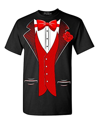 Shop4Ever Classic Tuxedo T-Shirt Party Costume Shirts Small Black 0 -