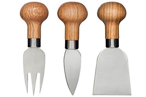 Sagaform 5017198 Käse Set, 3 Einheiten, Eichenholz / Edelstahl, 12,50 x 4 x 5 cm, braun