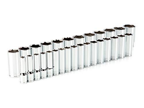 TEKTON 1/2 Inch Drive Deep 6-Point Socket Set, 29-Piece (10-38 mm) | SHD92014