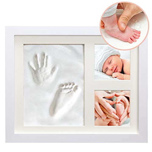 - White Clay Hand/Footprint Photo Frame for Babies, Kids, and Pets - Includes 9