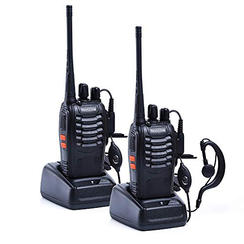 Nestling 888S Walkie Talkie 2pcs in One Box with Rechargeable Battery Headphone Wall Charger Long Range 16 Channels Two Way Radio (2pcs radios)