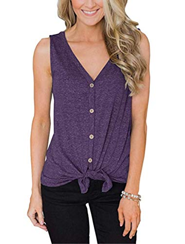 Womens V Neck Button Down Waffle Knit Loose Casual Shirts Tunic Tank Tops Blouses Shirts(Purple-20 M)