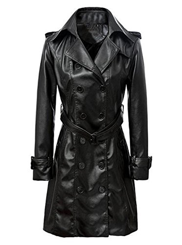 VearFit Women's Smarterious Long Coat Blazar Plus Size Real Sheep Leather Jacket Black (Leather Trench Coat Ladies)