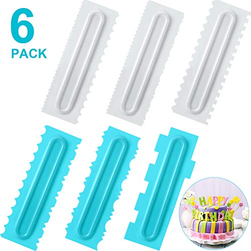 Cake Scraper Set of 6, Decorating Comb and Icing Smoother, Plastic Sawtooth Cake Scraper Polishe, Decorating Butter Mousse Cream Cake Edge Kitchen Baking Mold DIY Tool