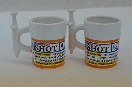 Fairly Odd Novelties Syringe Prescription Shot Glasses (2 Pack), White