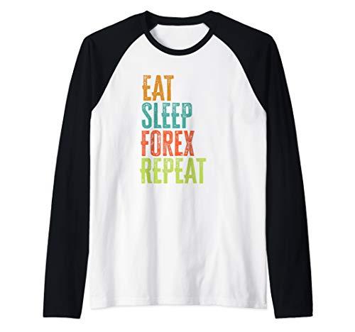 Retro Eat Sleep Forex Repeat Trader Day Profits Pips EA Auto Raglan Baseball Tee