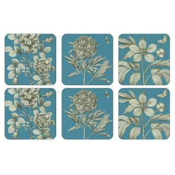 PIMPERNEL Etchings & Roses Blue Coasters square set of 6