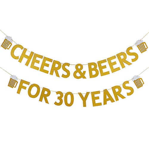 Gold Glittery Cheers & Beers for 30 Years