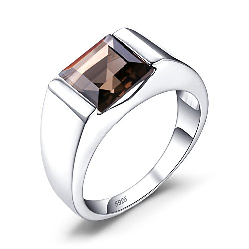JewelryPalace Mens 2.3ct Square Natural Smoky Quartz 925 Sterling Silver Ring